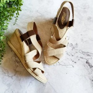 Lucky Brand Keane Natural Strappy Wedge Sandals